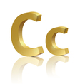Golden letter C vector image
