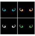 Wild cat eyes on black background set vector image