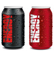 energy drink tin can red and black with many water vector image