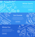 hand drawn winter sports equipment vector image
