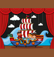 pirate and kids on viking ship vector image