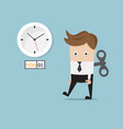 Businessman tired walking with wind up on monday vector image