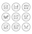 set round line icons of check mark vector image