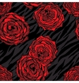 Seamless pattern with red flowers on animal vector image