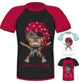 T-shirt with Rottweiler dog pirate vector image
