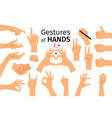 colored hand gesture set vector image