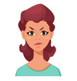 face expression of a woman - dissatisfied angry vector image