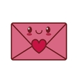 kawaii love message envelope valentine vector image