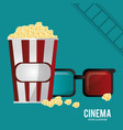 Cinema 3d glasses pop corn and filmstrip vector image