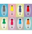 Different vintage dresses on a mannequin vector image
