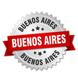 Buenos Aires round silver badge with red ribbon vector image