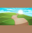 cartoon hill landscape road travel vector image