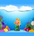 cartoon mermaid holding seashell with beautiful un vector image