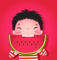 Cute boy eating watermelon vector image