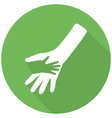 hand icon flat icon with long shadow vector image