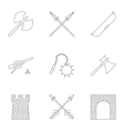 Medieval knight icons set outline style vector image
