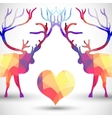 Silhouette a deer of geometric shapes with heart vector image