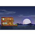A boathouse floating in the middle of the night vector image vector image