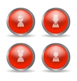 Red glossy modern spheres with family icons vector image