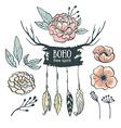 Boho style wedding invitation elements set Flowers vector image vector image