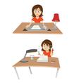 woman at desk vector image