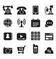 basic phone application icons set vector image