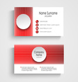 Modern red round business card template vector image