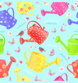 seamless texture with lovely watering cans and vector image