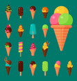 sweet cartoon cold ice cream set and tasty frozen vector image