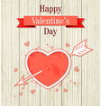 Vintage Valentine card with red heart vector image