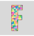 Color Piece Puzzle Jigsaw Letter - F vector image