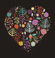 Heart shape floral dark background vector image