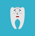tooth happy emoji teeth merry emotion isolated vector image