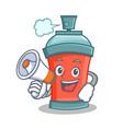 aerosol spray can character cartoon with megaphone vector image