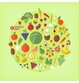 Fruits and vegetables icons collection vector image