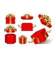 Red Gift Boxes and with golden bow vector image vector image