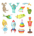 cartoon set of toys for kids boys and girls funny vector image
