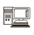 computer monitor keyboard processor tower image vector image