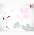 little red and black fishes and pink lotus flowers vector image