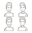 men with different hairstyles set vector image