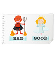 Opposite adjectives with good and bad vector image