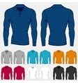 Set of colored long sleeve polo-shirts templates vector image