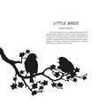Silhouette of two birds sitting on a branch vector image