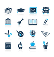 Education Icons Azure Series vector image vector image