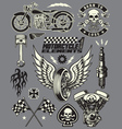 Set of Vintage Motorcycle Elements vector image vector image