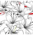 Seamless pattern with white lily vector image