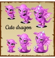 Set of little pink dragon on a parchment vector image