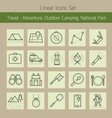 Adventure Outdoor Camping Park Line Icons Set vector image