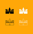 castle black and white set icon vector image
