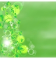 green leaves on watercolor background vector image